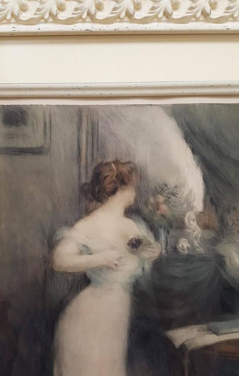 """An original signed etching with aquatint by French artist Manuel Robbe (1872-1936) titled """"Bouquet de Violettes"""", 1903. Signed by Robbe lower right. Limited edition: 65. Reference: Merrill Chase Cat: No. 105. Framed beautifully. Framed"""