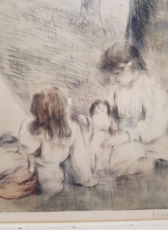 "An original signed drypoint etching with aquatint by French artist Manuel Robbe (1872-1936) titled ""Les Mamans"", 1904. Signed by Robbe lower right and pencil numbered ""No. 13"" lower left. Limited edition: 65. Reference: Merrill"