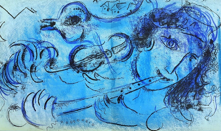 Marc Chagall Figurative Print - The Flute Player