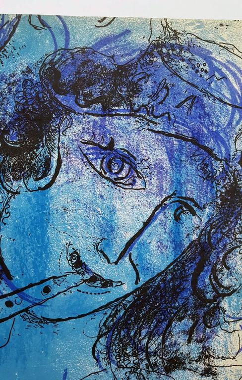 The Flute Player - Modern Print by Marc Chagall
