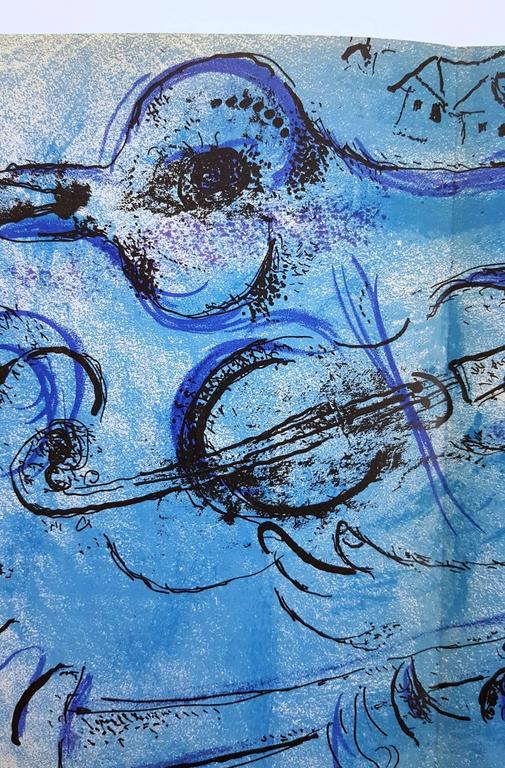 The Flute Player - Blue Figurative Print by Marc Chagall