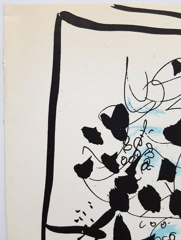 "An original lithograph by Russian-French artist Marc Chagall (1887-1985) titled ""Black and Blue Bouquet"", 1957. Limited edition: 6,000. Published by Jacques Lassaigne in ""Chagall Graveurs"" in 1957. Printed by Mourlot, Maeght"