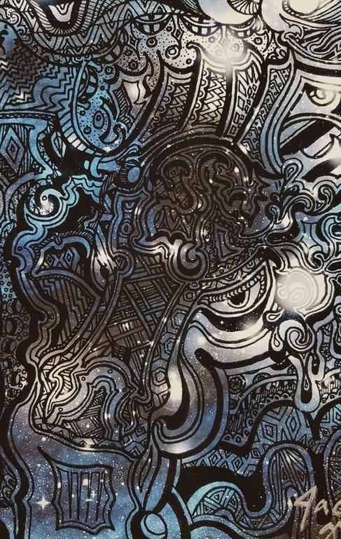 Samurai (Blue) - Black Animal Print by Jack Graves III