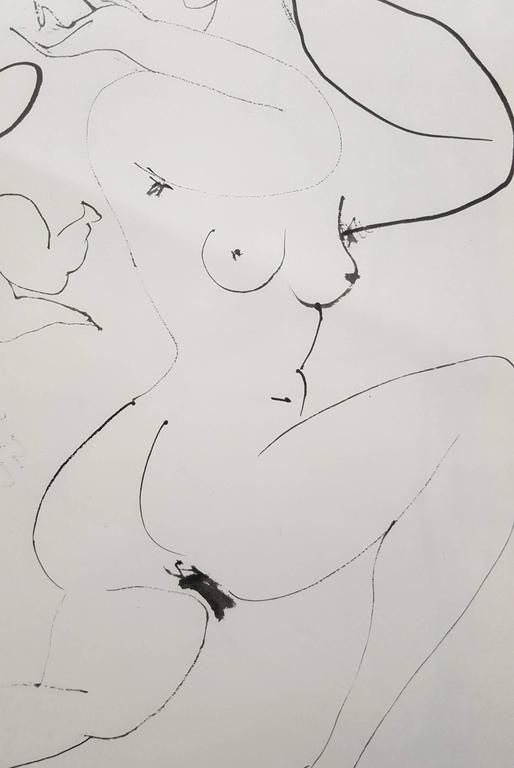 An original heliogravure on smooth wove paper after a drawing by Spanish artist Pablo Picasso (1881-1973) titled