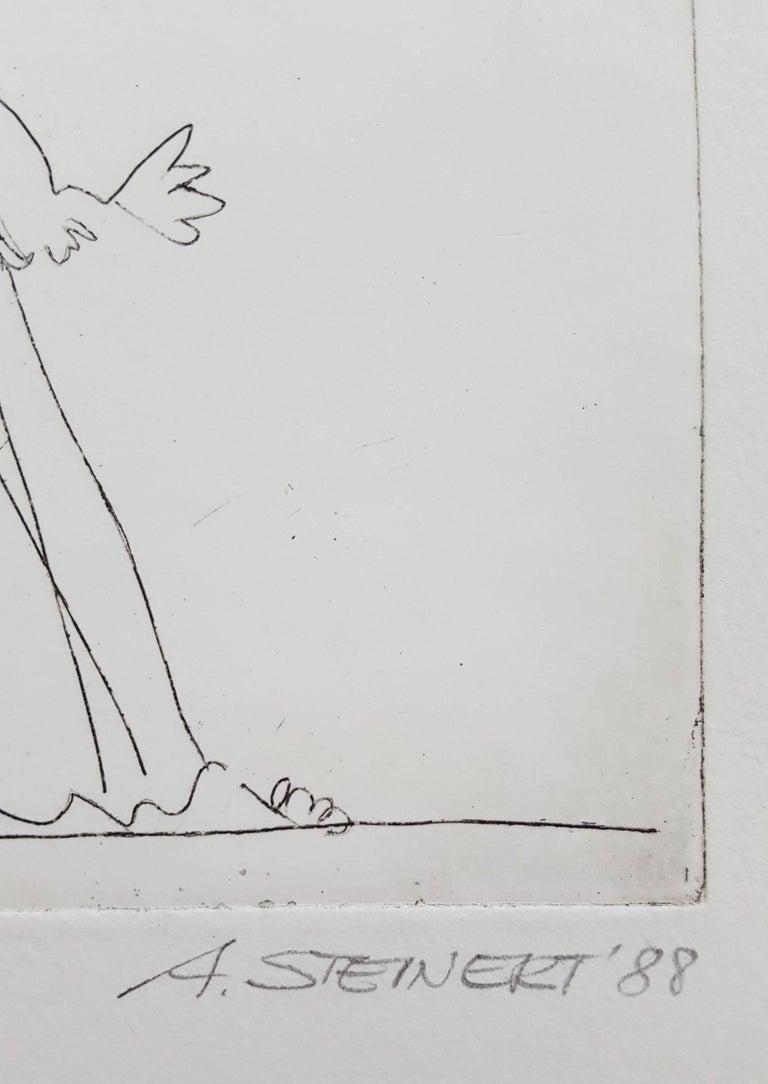 Kleine Melodie (No Melody) - Gray Figurative Print by Albrecht Steinert