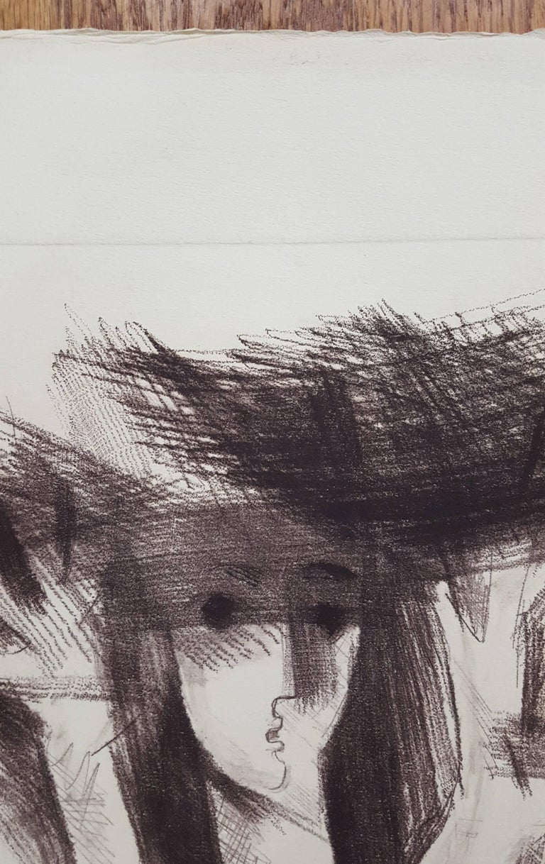 """An original signed soft ground etching on heavy wove paper by German artist Albrecht Steinert (1925-?) titled """"Daphne"""", 1984. Hand pencil titled, signed and dated by Steinert lower left and right. Sheet size: 21"""" x 15.5"""". Image"""