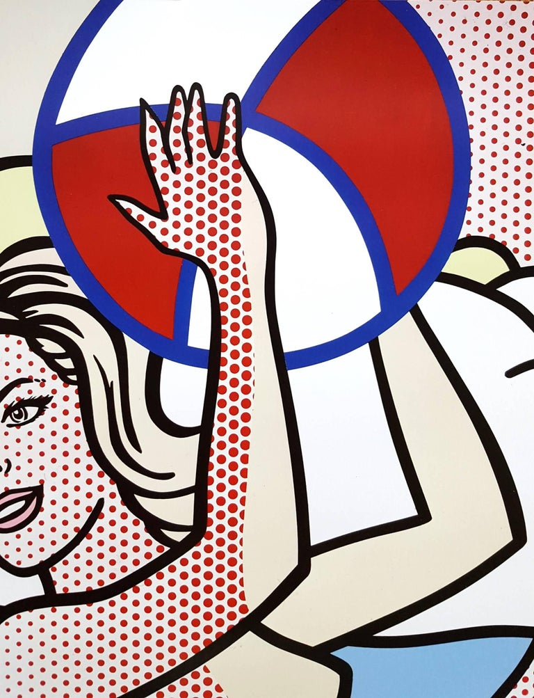 """An original offset-lithograph exhibition poster after American artist Roy Lichtenstein (1923-1997) titled """"Nudes with Beach Ball"""", 2007. Produced for a special exhibition of Lichtenstein's artwork at Fundacion Juan March February 2nd - May"""