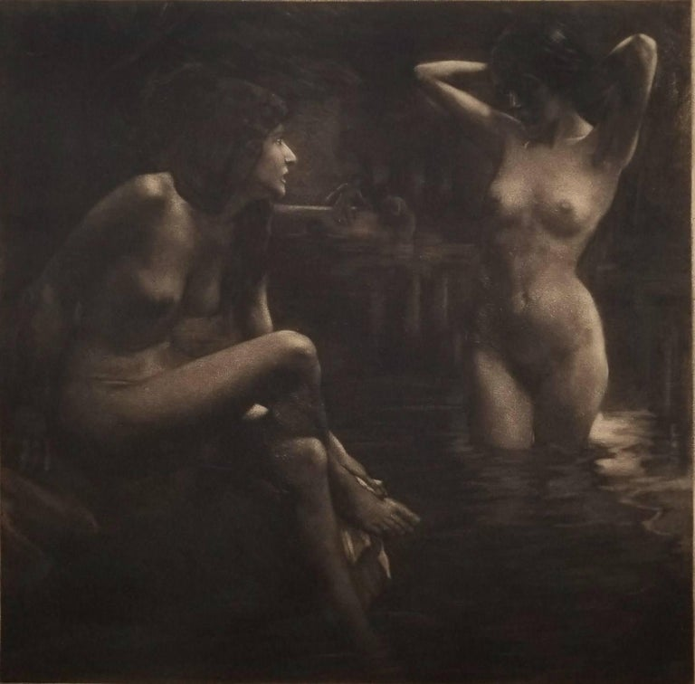 Georg Jahn Nude Print - Bathers in a Grotto