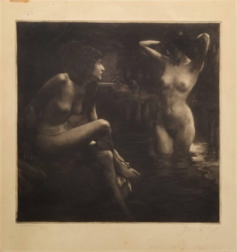 Bathers in a Grotto - Art Nouveau Print by Georg Jahn