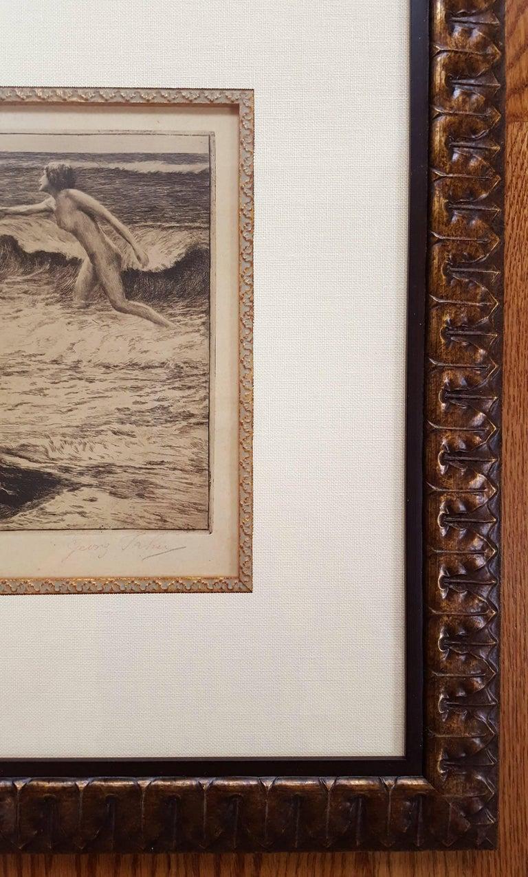 By the Sea - Beige Nude Print by Georg Jahn
