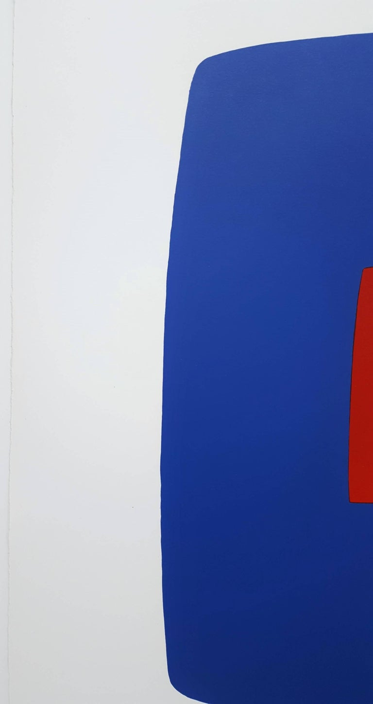 Dark Blue with Red (VI.7) - Gray Abstract Print by Ellsworth Kelly