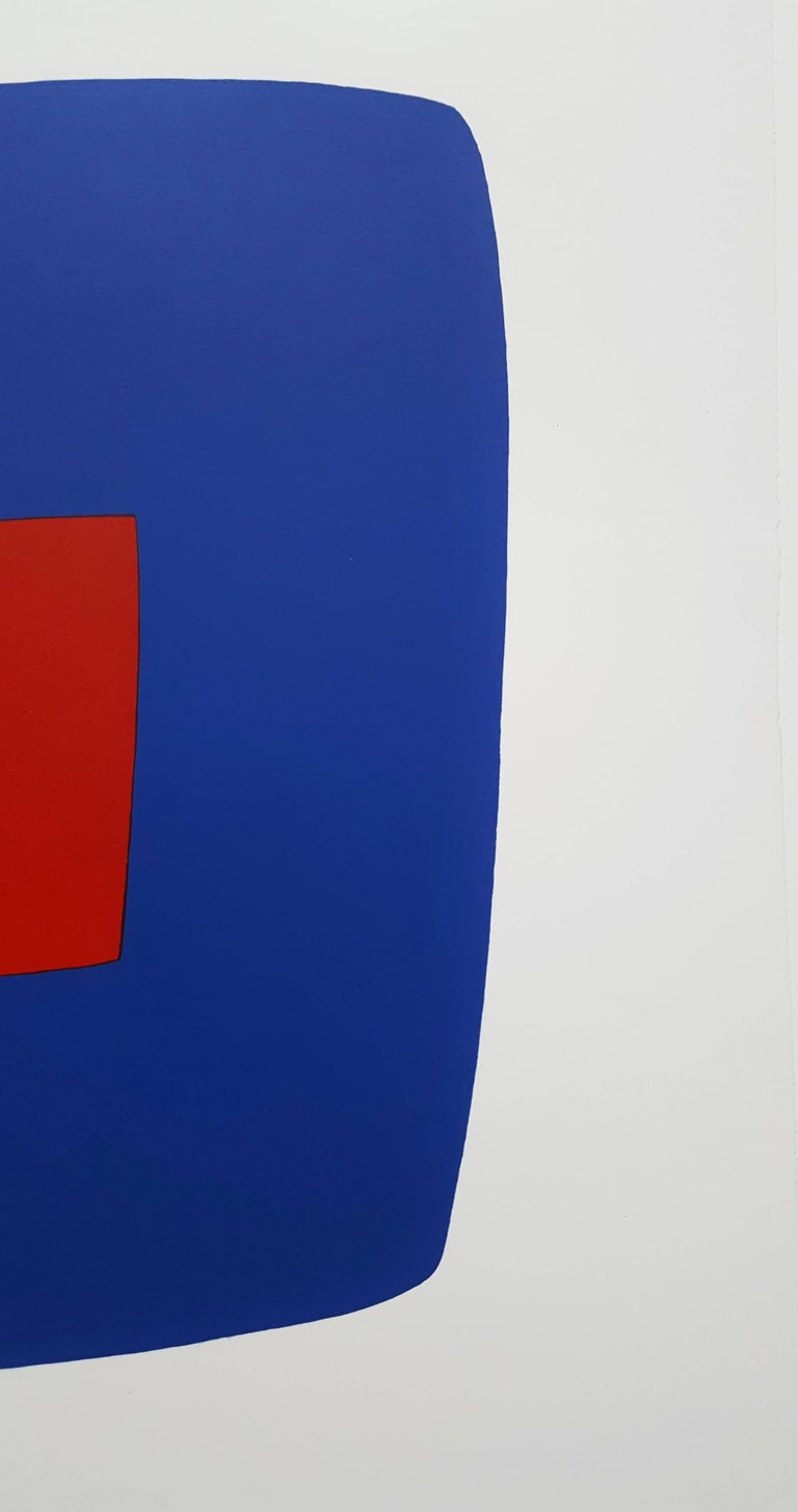 "An original signed lithograph on Rives BFK wove paper by American artist Ellsworth Kelly (1923-2015) titled ""Dark Blue with Red (VI.7)"", 1964. Limited edition: 75 and 10 artist's proofs. Our example is 40/75. Hand pencil signed and"