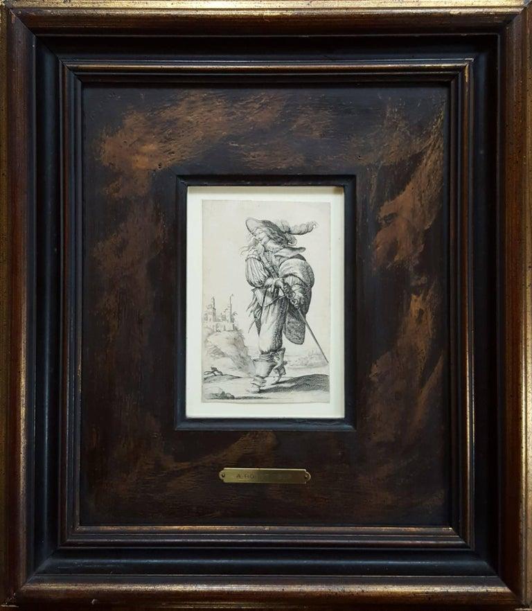 Un homme se dirigeant a droite monte un degre - Print by Abraham Bosse