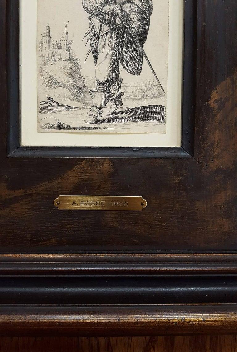 Un homme se dirigeant a droite monte un degre - Old Masters Print by Abraham Bosse