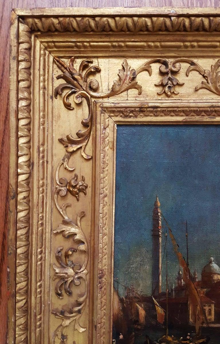 San Giorgio Maggiore, Venice - Black Landscape Painting by (In the manner of) Franceso Lazzaro Guardi