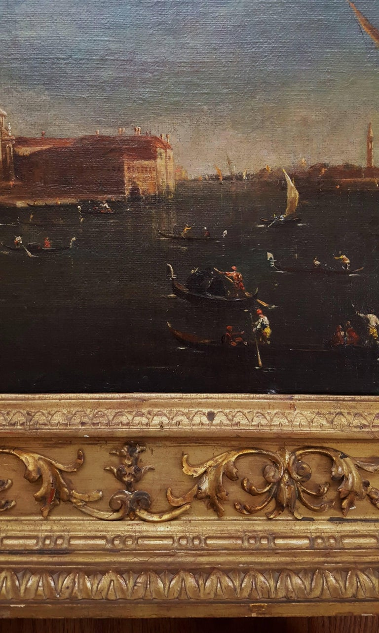 An original oil on canvas painting in the manner of Italian artist Franceso Lazzaro Guardi (1712-1793) titled