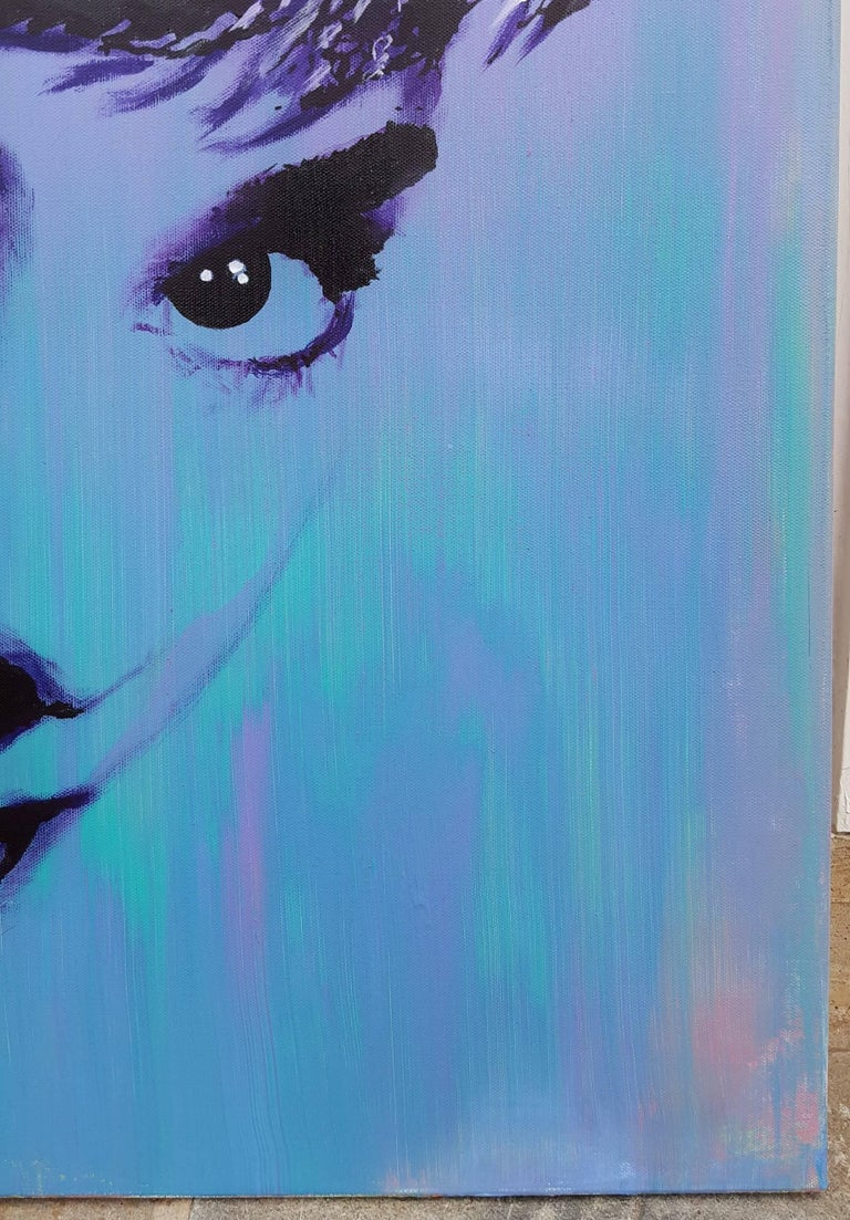 """An original signed acrylic on canvas by American artist Jack Graves (1988-) titled """"Audrey Hepburn Icon II"""", 2017. Hand signed, titled, and dated by Graves on verso. This painting was hand stretched on the stretcher bars by Graves. Part of Graves'"""