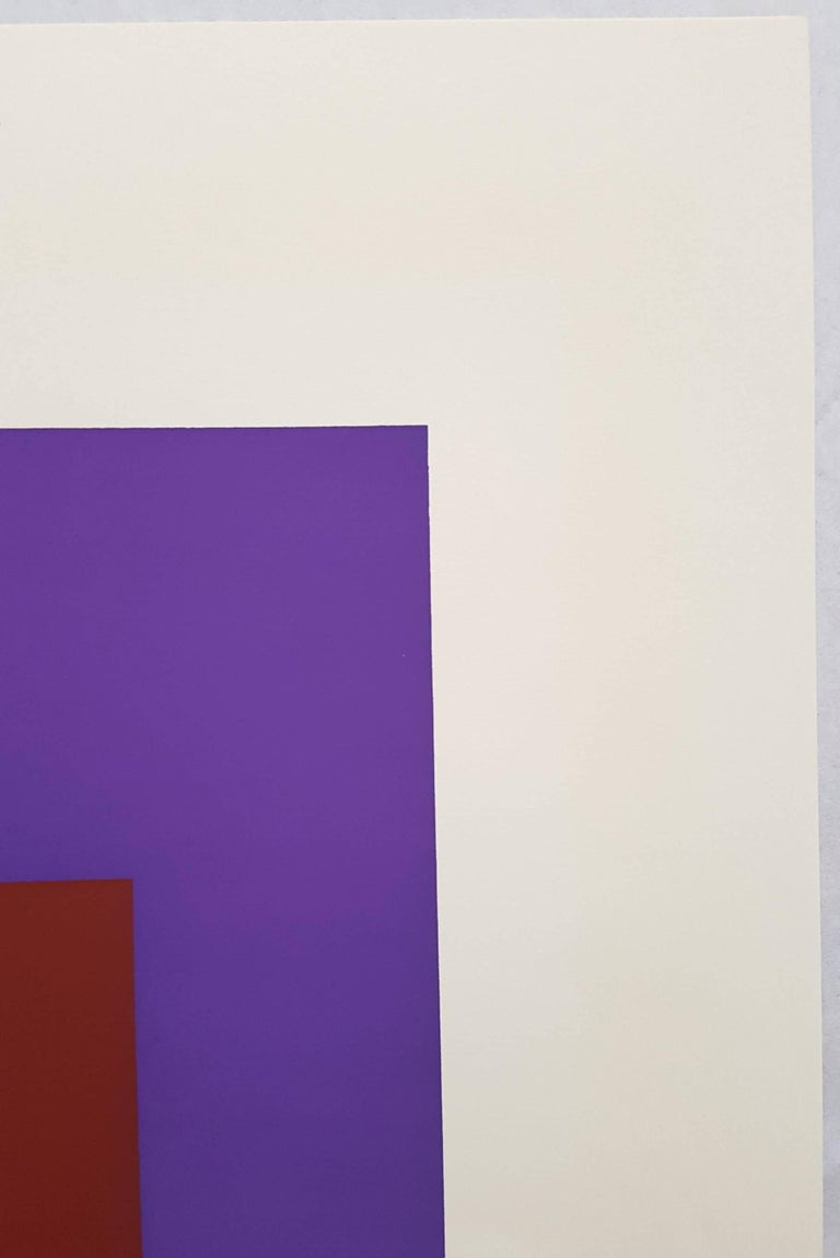 "An original signed screenprint on Rives BFK paper by German-American artist Josef Albers (1888-1976) titled ""Palatial"", 1965. Comes from the 1965 'Soft Edge - Hard Edge' portfolio. Hand pencil signed and dated by Albers lower right and"