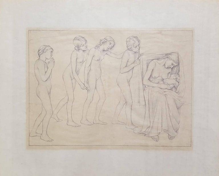 Die Kommenden (The Coming Ones) - Beige Nude Print by Ida Teichmann