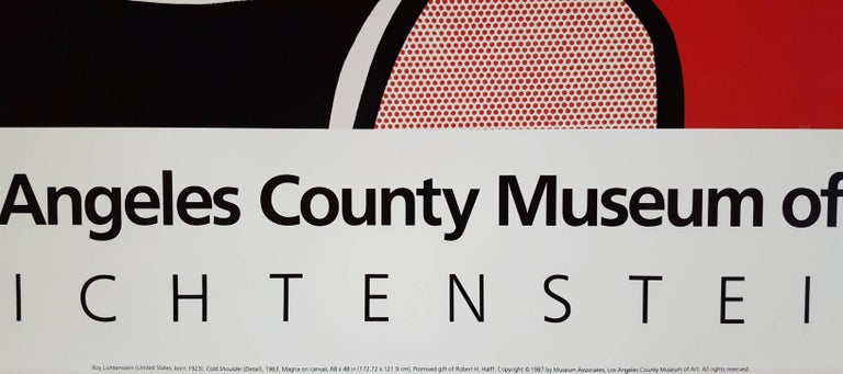 """A vintage offset-lithograph exhibition poster by American artist Roy Lichtenstein (1923-1997) titled """"Los Angeles County Museum of Art"""", 1987. Limited edition: unknown, presumed small. The image featured on the poster is Lichtenstein's"""