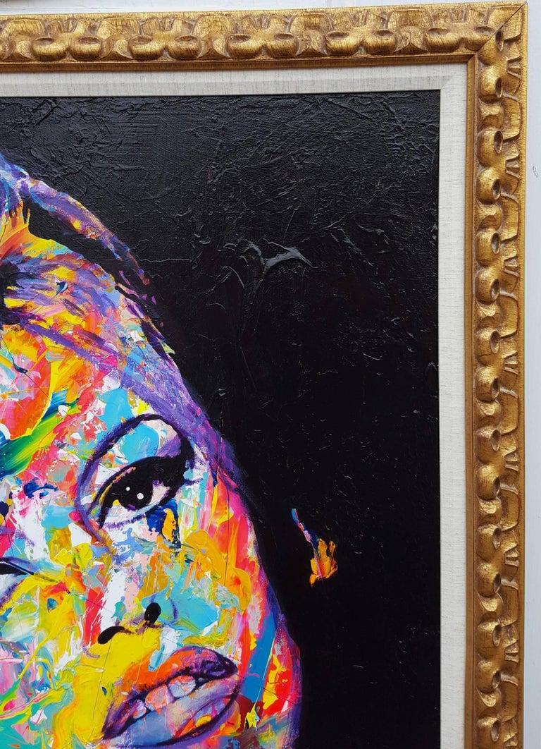 Brigitte Bardot Icon - Black Portrait Painting by Jack Graves III