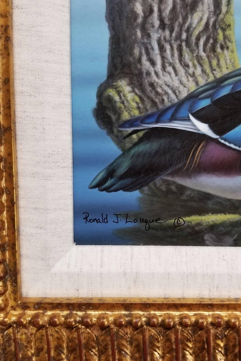 Wood Ducks - Black Animal Painting by Ron Louque