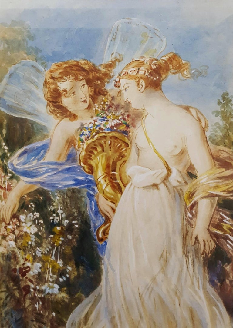 """An original gouache on paper in the manner of Scottish artist Sir Joseph Noel Paton (1821-1901) titled """"Ceres with an Angel"""", c. 1880. This painting is unsigned. Beautifully framed in moulding from Spain and matting from Holland. Framed size: 22.75"""""""