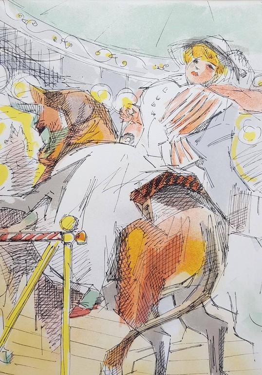 Le Manège - Beige Figurative Print by Jacques Villon
