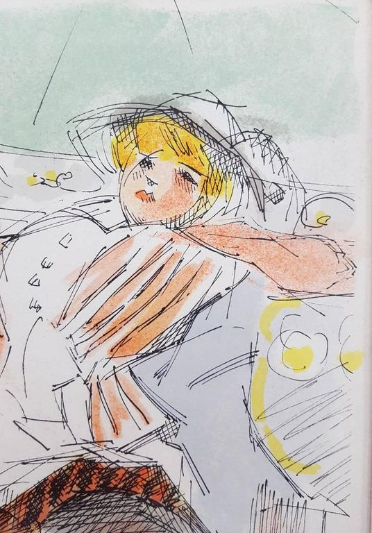 """An original signed lithograph by French artist Jacques Villon (1875-1963) titled """"Le Manège"""", 1962. Hand pencil signed and numbered by Villon: """"épreuve d'artiste"""" meaning Artist Proof. A great example of Villon's work with very pleasing imagery."""