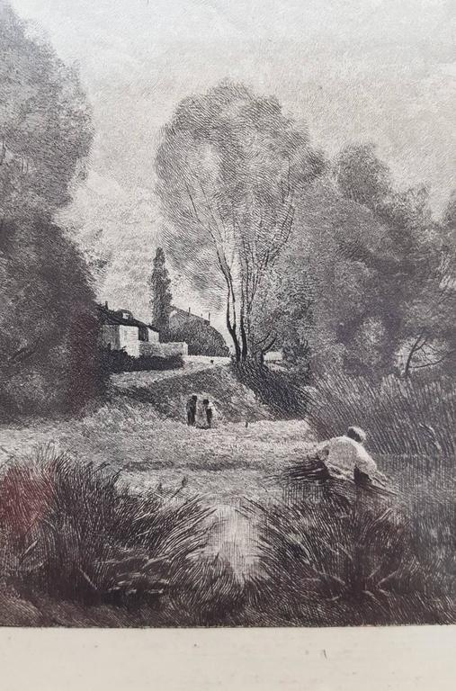 L'Etang a Ville d'Array - Barbizon School Print by Jean-Baptiste-Camille Corot