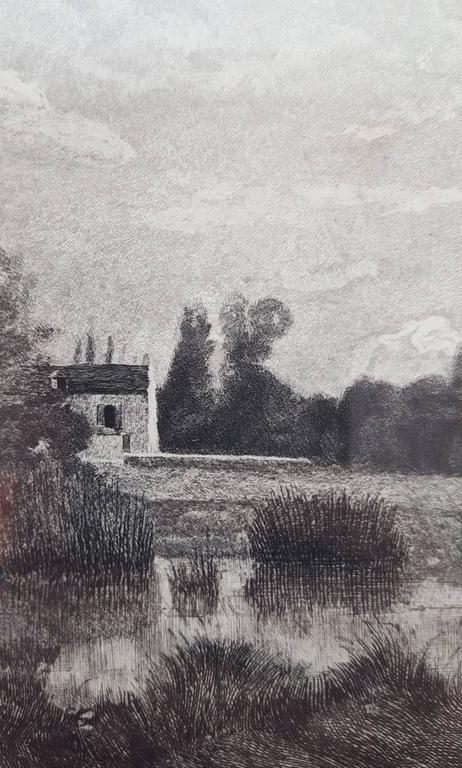L'Etang a Ville d'Array - Gray Landscape Print by Jean-Baptiste-Camille Corot