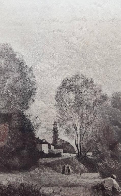 An original etching on laid paper by French artist Charles Giroux (1828-1885) after French artist Jean-Baptiste Camille Corot (1796-1875) titled