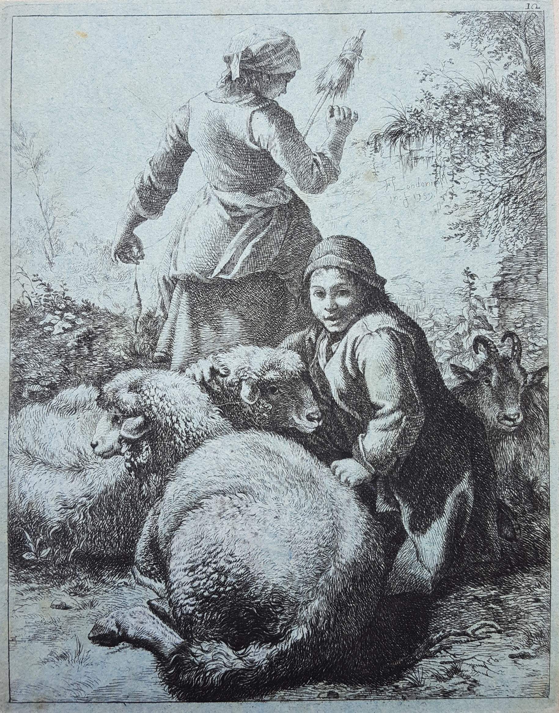 Shepherdess with Sheep and Goat
