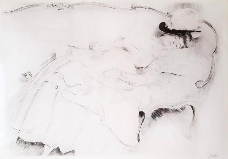 Paul César Helleu Figurative Print - Dormeuse sur un Canape