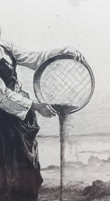 Girl Winnowing Buck-Wheat - Gray Figurative Print by Frédéric-Auguste La Guillermie