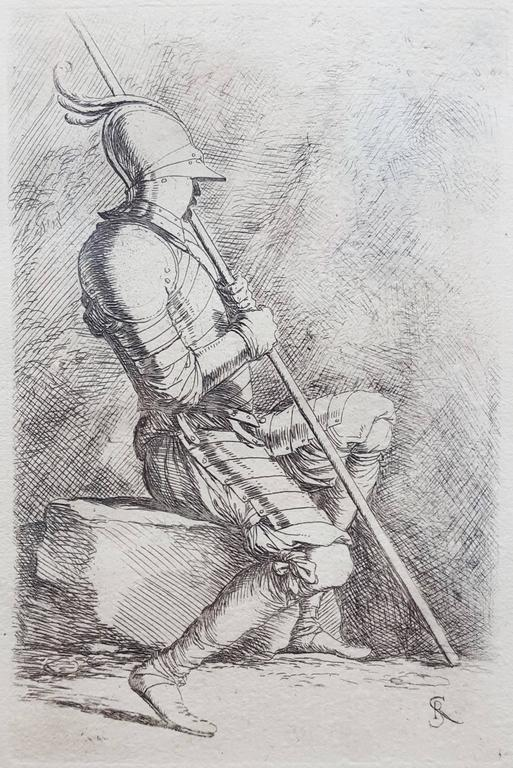 Salvator Rosa Figurative Print - Seated Soldier Framed