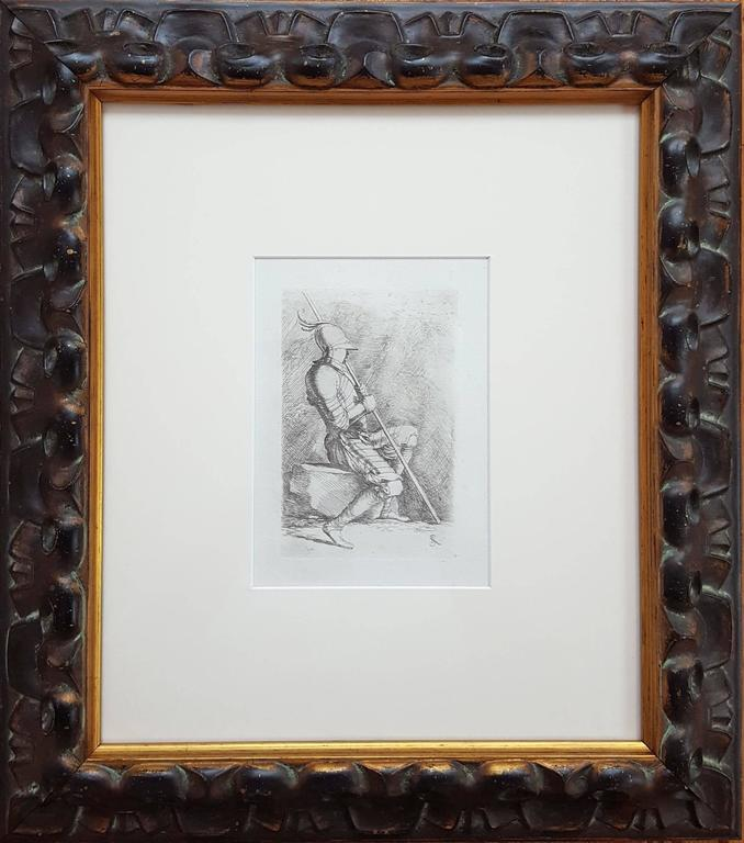 Seated Soldier Framed - Print by Salvator Rosa