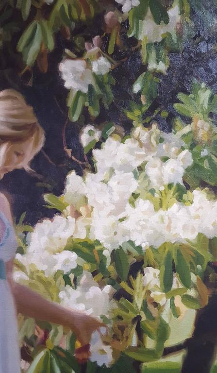 Summer Blooms - Black Figurative Painting by Gary Thomas Morrow