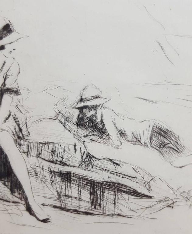 Lyme Regis - Gray Figurative Print by Claude Allin Shepperson