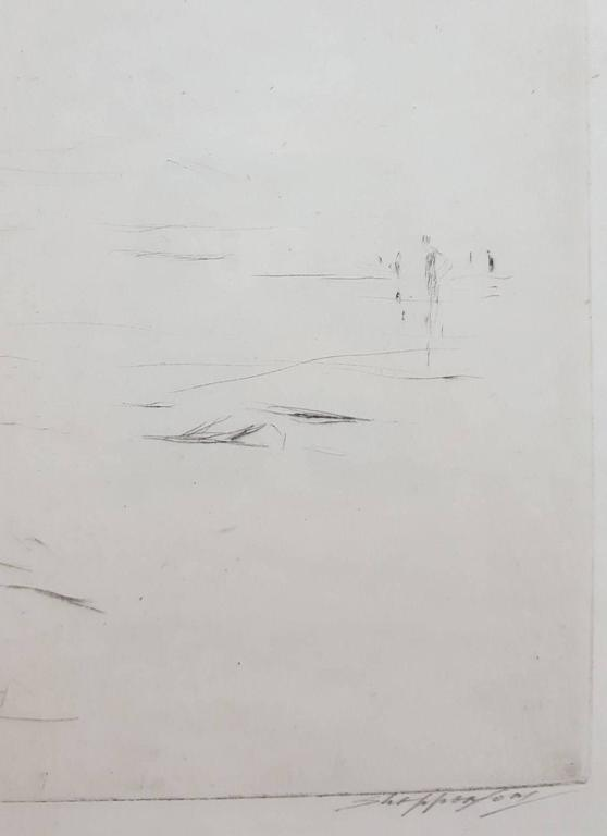 """An original signed drypoint etching by British artist Claude Allin Shepperson (1867-1921), titled """"Lyme Regis"""", c. 1918. Hand pencil signed lower right under platemark. This scene depicts a mother and child relaxing by the sea at Lyme"""