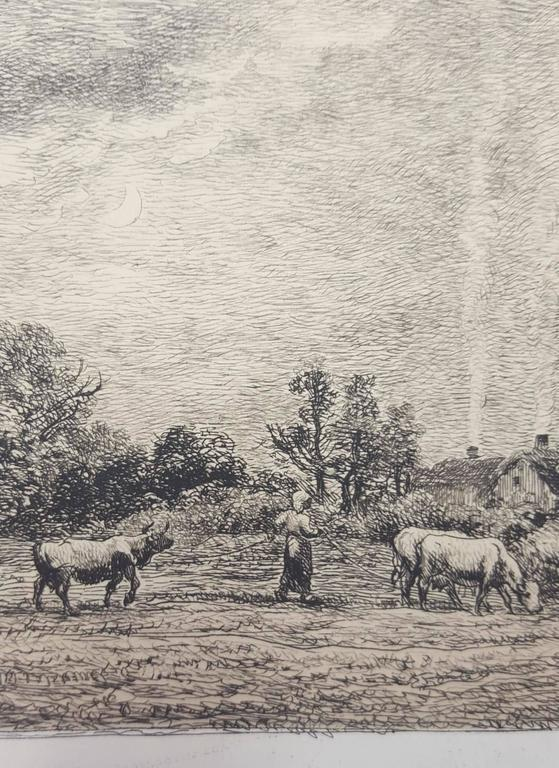 An original etching printed with light brown ink tone on wove paper by French artist Charles Francois Daubigny (1817-1878) titled
