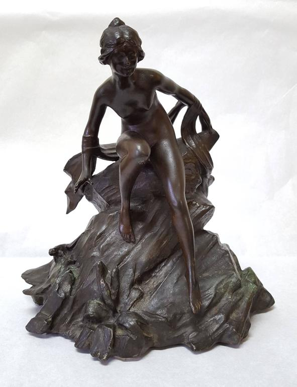 "Unknown Nude Sculpture - ""Art Nouveau Water Nymph after Alphonse Mucha"""