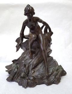 """""""Water Nymph"""" Art Nouveau Bronze manner of Alphonse Mucha"""