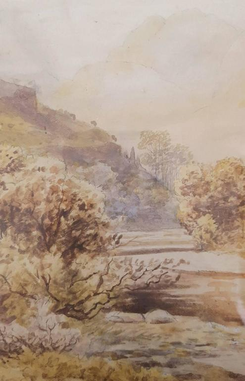 Autumn, Langdale Pikes from Chapel Stile - Brown Landscape Art by Rose Maynard Barton