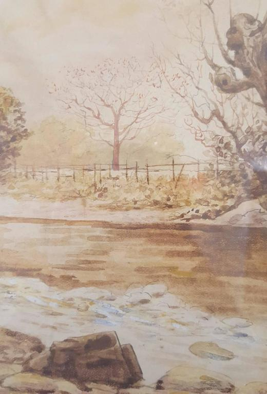 """An original watercolor by Irish artist Rose Maynard Barton R.W.S. (1856-1929) titled """"Autumn, Langdale Pikes from Chapen Stile"""", c. 1880. Section of previous mat is attached on back, (please see picture), inscribed """"Rose M. Barton."""