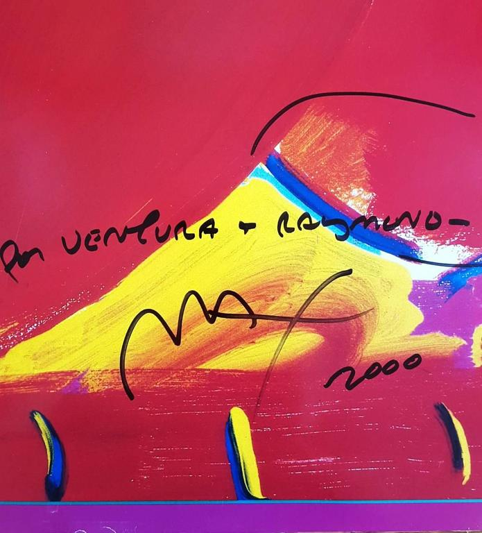 Two Hearts as One - Red Figurative Art by Peter Max