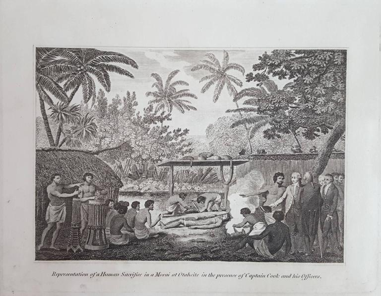 Representation of Human sacrifice with Captain Cook - Victorian Print by John Webber