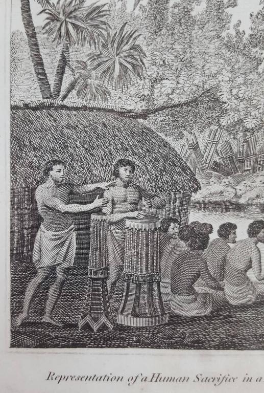 Representation of Human sacrifice with Captain Cook - Gray Figurative Print by John Webber