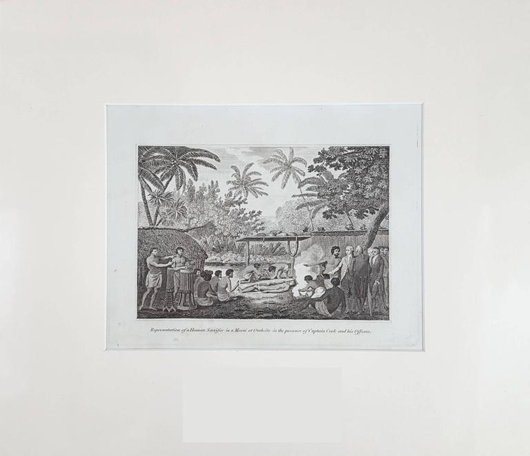 Representation of Human sacrifice with Captain Cook - Print by John Webber