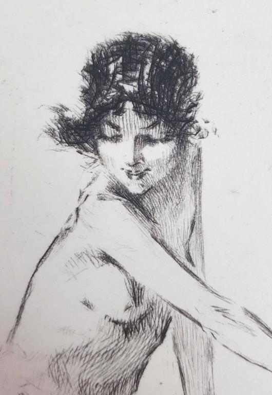 An original signed drypoint etching on cream wove paper by American artist Troy Kinney (1871-1938) titled